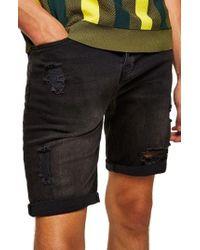 TOPMAN - Finch Skinny Fit Ripped Shorts - Lyst