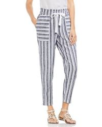 Vince Camuto - Shore Linen Blend Stripe Drawstring Pants - Lyst