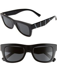 9c67cbf3eb9de Valentino V Logo Oversized Sunglasses in White - Lyst