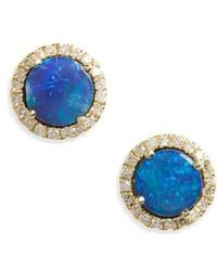 Meira T - Opal And Diamond Pave Stud Earrings - Lyst