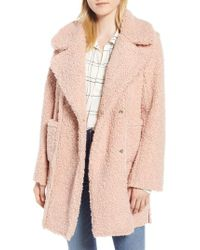 Kenneth Cole - Notch Collar Curly Faux Shearling Coat - Lyst