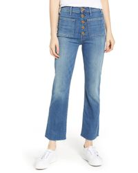 Mother - The Hustler Patch Pocket High Waist Ankle Jeans - Lyst