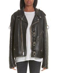 2702c2103ef R13 - Refurbished Leather Moto Jacket - Lyst