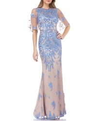 JS Collections - Illusion Embroidered Capelet Gown - Lyst