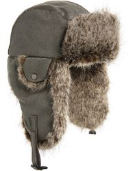Crown Cap - Waxed Cotton Aviator Hat With Faux Fur Lining - Lyst d85739c13e8e