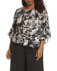 Alex Evenings - Floral Print Chiffon Blouse - Lyst