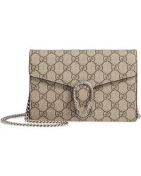 0d72f66f891 Gucci - Dionysus Gg Supreme Canvas Wallet On A Chain - - Lyst