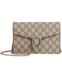 b3519da4d72 Gucci - Dionysus Gg Supreme Canvas Wallet On A Chain - - Lyst