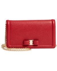 Ferragamo - Salavatore Ferragamo Vara Leather Wallet On A Chain - Lyst