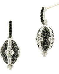 Freida Rothman - Industrial Finish Clover Pave Drop Earrings - Lyst