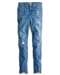 J.Crew | J.crew High Rise Cut Hem Toothpick Jeans | Lyst