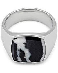 Tom Wood | Men's Zebra Marble Cushion Signet Ring | Lyst