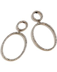 J.Crew - Pave Double Oval Earrings - Lyst