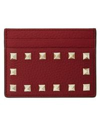 Valentino | Rockstud Leather Card Holder - Burgundy | Lyst