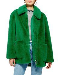 TOPSHOP - Faux Fur Jacket - Lyst