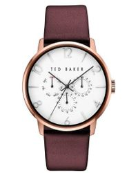 Ted Baker - Multifunction Leather Strap Watch - Lyst