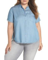 Vince Camuto - Frayed Edge Linen Chambray Shirt - Lyst