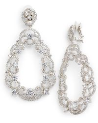 Nina - Scroll Pave Earrings - Lyst