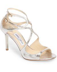 dd4c5485210a Lyst - Jimmy Choo Leslie Curvy-Caged Glitter Sandal in Metallic