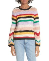 Alice + Olivia - Alivia Stripe Bell Sleeve Cotton Blend Sweater - Lyst