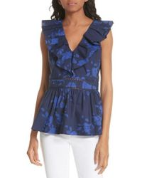 Kate Spade - Hibiscus Ruffle Neck Cotton Blouse - Lyst