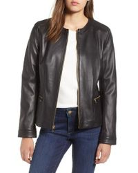Cole Haan - Smooth Lambskin Leather Jacket - Lyst