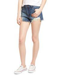 BP. - High Waist Frayed Hem Denim Shorts - Lyst