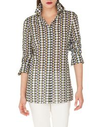 Akris - Diamond Print Cotton Voile Tunic Blouse - Lyst