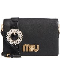 Miu Miu - Madras Crystal Embellished Leather   Genuine Snakeskin Clutch -  Lyst 80f356ab25dc1