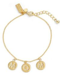 Kate Spade - Mom Knows Best Pave Charm Bracelet - Lyst