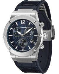 Ferragamo - F80 Chronograph Leather Strap Watch - Lyst