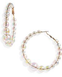 Leith - Iridescent Bead Hoop Earrings - Lyst