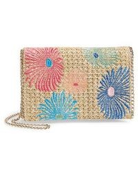 Chelsea28 - Embroidered Woven Straw Clutch - Lyst