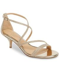 Badgley Mischka | Gal Glitter Kitten Heel Sandal | Lyst