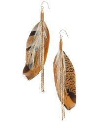 Serefina - Vintage Feather Drop Earrings - Lyst