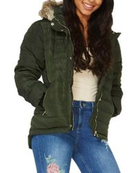Dorothy Perkins - Hooded Faux Fur Puffer Jacket - Lyst