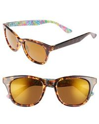 Lilly Pulitzer | Lilly Pulitzer Maddie 52mm Polarized Mirrored Sunglasses - Crystal Gold/ Pink | Lyst