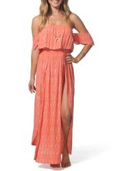 Rip Curl - Saltwater Off The Shoulder Maxi Dress - Lyst
