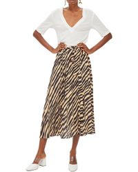 TOPSHOP - Zebra Print Pleated Midi Wrap Skirt - Lyst