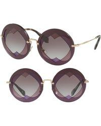e0c70a8b987 Miu Miu - 62mm Layered Heart Round Sunglasses - Violet Gradient - Lyst