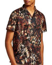 TOPMAN - Animal Jacquard Print Camp Shirt - Lyst