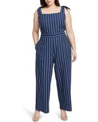 8941d6006e35 Lyst - Rachel Rachel Roy Denim Crop Wide Leg Jumpsuit in Blue
