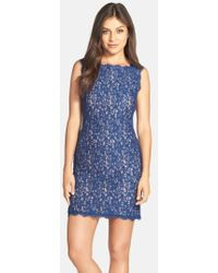 Adrianna Papell - Boatneck Lace Sheath Dress - Lyst