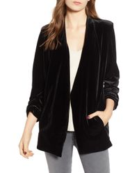 BISHOP AND YOUNG - Bishop + Young Ruched Sleeve Velvet Blazer - Lyst