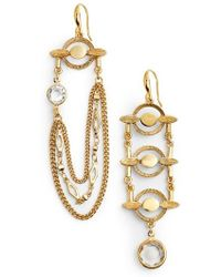 Badgley Mischka | Asymmetrical Drop Earrings | Lyst