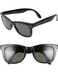 409dd8bbc0 Ray-Ban - 50mm Wayfarer Polarized Folding Sunglasses - Lyst