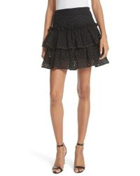 MILLY - Floral Ruffle Tiered Cotton Eyelet Miniskirt - Lyst