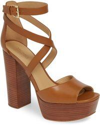 9d879edfe527 MICHAEL Michael Kors - Women s Burke Leather Platform Sandals - Lyst