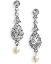 Ben-Amun | Imitation Pearl & Crystal Drop Earrings | Lyst