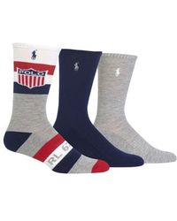 Polo Ralph Lauren - Ralph Lauren Athletic Shield 3-pack Socks, Grey - Lyst